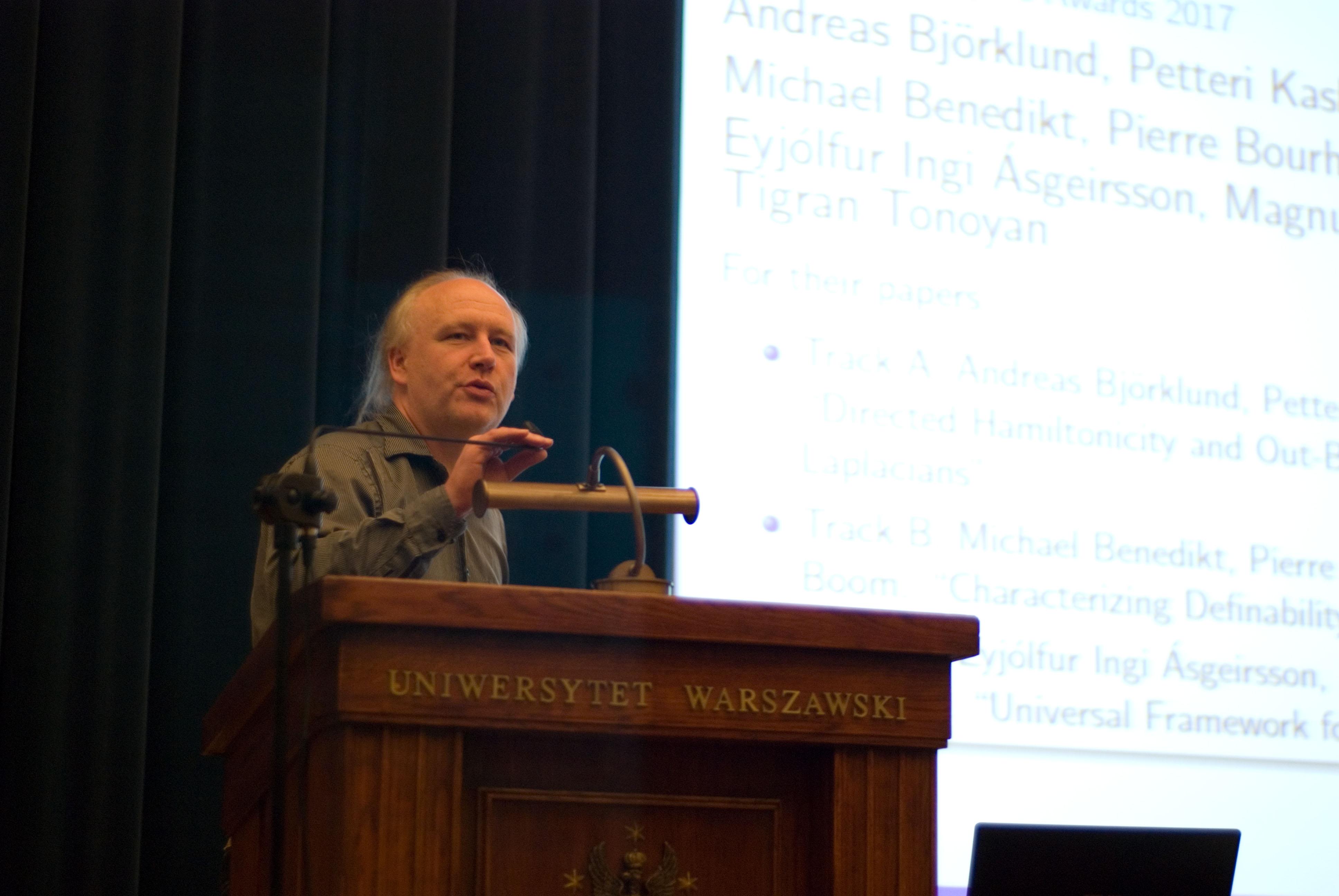 Piotr Indyk during award session